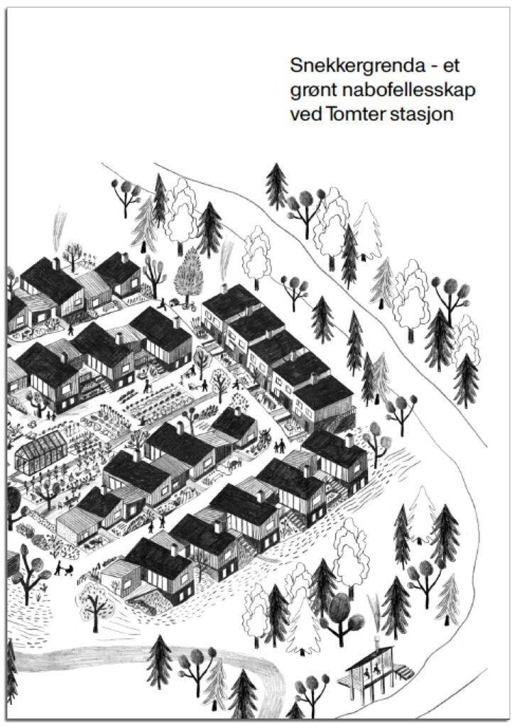 forsiden av prospektet, viser en skisse av bofellesskapet sett ovenfra